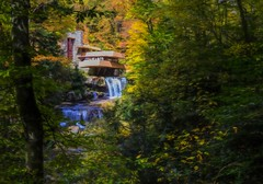 A House In The Woods (Wes Iversen) Tags: fallingwater franklloydwright hss pennsylvania sliderssunday tokina1116mmf28 architecture autumn digitalart homes houses nature painterly rivers trees vacations waterfalls