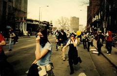 FTAA Protest Quebec City (kris.notaro) Tags: ftaa protest neoliberalism anarchism anarchists teargas tear gas quebec city panic running frightened