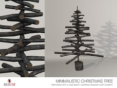 FREE GROUP GIFT! - Minimalistic Christmas Tree (Bhad Craven 'Bad Unicorn') Tags: christmas tree pine birch logs made from skeleton dead trees xmas 2017 • bhad craven second 2l life lindens profile picture photography bad unicorn badunicorn clothing buc bu secondlife graphics gfx graphic design photos pics photo sl urban mesh exclusive store blog fashion shadows high quality production portrait image hd definition original meshes meshed 3d game characters art gaming concept concepts new top work progress wip