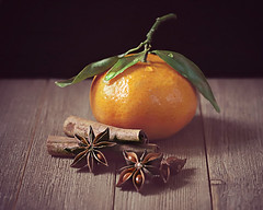 Clementine & spices (Through Serena's Lens) Tags: stilllife dof droplets tabletop staranise cinnamon clementine spices fruit canoneos6dmarkii