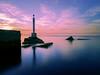 Smiley Lighthouse (Abdalis_3k60) Tags: lighthouse smiley landscape longexposure calmness clouds port sunset seascape sea water rocks colours nature winter