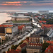 Aerial View of Roofs and Canals of Copenhagen in the Evening, Denmark