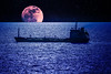 Photoshop !? (100er short break) Tags: kiel ostsee schiff tanker nacht vollmond mond blue blau meer