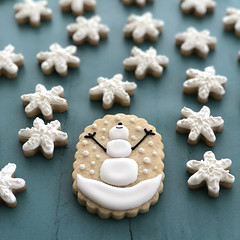 Happy snowman cookie (sagodlove) Tags: christmascookies heart baked indecorated sugar cookiesheart inwinter cookiesholiday cookiessnowman cookiessnow is fallinghappy snowmanmini cookiesmini snowflakes