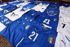 Italy Football Shirt Collection (iptings) Tags: italy zoff baresi baggio maldini schillaci delpiero totti lecoqsportif diadora puma kappa fifa worldcup azzurri