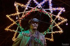 Capitalism Communism and_Merry Christmas (Demian Gutierrez) Tags: nightphotography fremont seattle seattlewa whashington christmas stalin capitalism communism irony ironyoflife