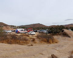 028 Ambulance And Fire Engine Staging In The Parking Lot (saschmitz_earthlink_net) Tags: 2018 california orienteering vasquezrocks aguadulce losangelescounty laoc losangelesorienteeringclub