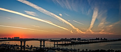 Clearwater Beach Sunset (lpd5358) Tags: florida clearwater gulfofmexico sunset contrails pano sky