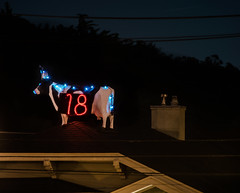 strange things on people's roofs (pbo31) Tags: bayarea california nikon d810 color dark night black december 2017 boury pbo31 sanfrancisco city urban art sculpture holidays lights christmas season crockeramazon roof cow strange 18 neighborhood odd