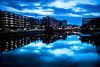 Streets of Malmö (Maria Eklind) Tags: bluehour bridge street water spegling city rörsjökanalen dusk canal bro malmö amiralsbron sky twilight blue kanal reflection building södraförstadskanalen sweden streetsofmalmö skånelän sverige se