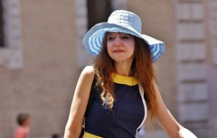 Rome - Trastevere - May 2015 - Survivor of the Swinging Sixties (Gareth1953 All Right Now) Tags: portrait candid mature woman floppy pale blue hat long red hair fulllips sad lostinthought older chic italian