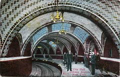 City Hall Subway Station, New York (SwellMap) Tags: postcard vintage retro pc 30s 40s 50s 60s thirties forties sixties fifties roadside midcentury atomicage nostalgia americana advertising coldwar artdeco linen design style architecture building