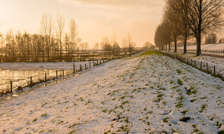 Dutch winter landscape just before sunset