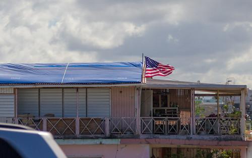 FEMA-branded tarp as a  temporary roof