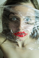 on your skin (j.raikowski) Tags: plastic model makeup lipstick lashes blue eyes naked green red art athmosphere