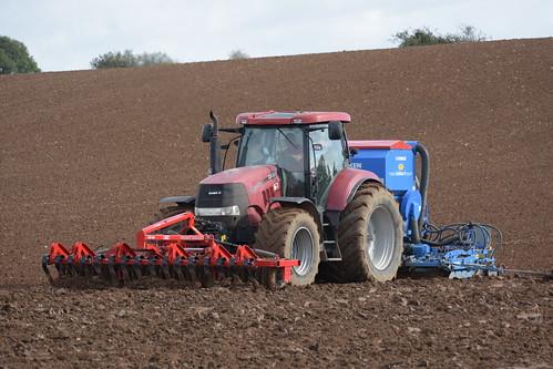 Case IH Puma 225 CVX Tractor with a HE-VA Front Roller 400 Front Press, Lemken Power Harrow & Lemken Solitair 9 Seed Drill