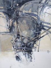Electric Horse 2, watercolour (toni belobrajdic) Tags: horse watercolour head figurative animals equestrian