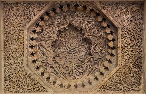 Plafond dans la Jama Masjid (grande mosquée) de Champaner, Gujarat, Inde