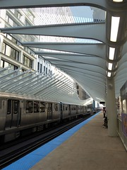 "Chicago, New Washington ""El"" Station and Train, Looking North (Mary Warren 9.6+ Million Views) Tags: chicago urban architecture transportation rapidtransit cta eltrain platform canopy"