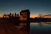 17-8041 (George Hamlin) Tags: virginia lenah mills water pond twilight christmas holiday lights decorations moon bare tree winter solstice sunset color reflection sky photo decor george hamlin photography
