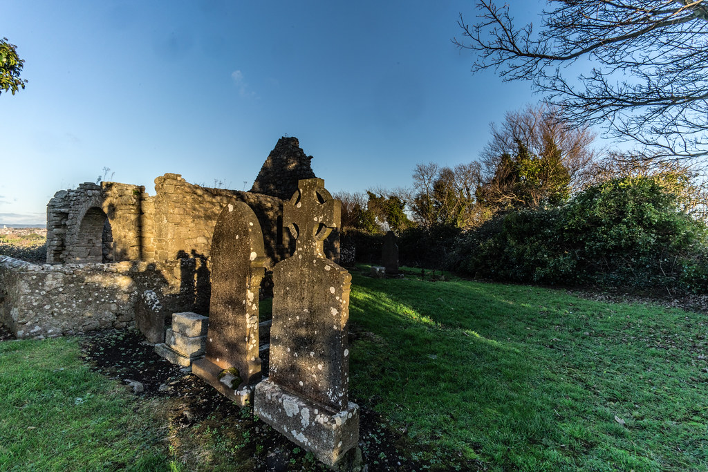 ANCIENT CHURCH AND GRAVEYARD AT TULLY [LAUGHANSTOWN LANE NEAR THE LUAS TRAM STOP]-134598
