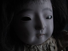 SCRAGGLY_gofun ichimatsu (Fuji Toy?)_1929 (leaf whispers) Tags: victorian gofun doll ichimatsu scary ningyo japan japanese bisque vintage antique creepy freaky horror weird crazy sinister unique original art poupee ancienne blackeyes madeinjapan realhair humanhair vintagedoll kawaii goth gothdoll chiaroscuro darkdoll possesseddoll spiritdoll haunteddoll ghostdoll ghostly olddoll old toy antiquetoy vintagetoy fondnoir obon ghost kimono bighead bigeyes blackbackground witch witchdoll soundbox squeekerbox fuji papiermache papermache paperwrappedtorso crybox cry box maker artist light retro traditional porcelain hina obsolete