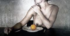 appelsien (roberke) Tags: appelsien fruit woman vrouw female body lichaam breast handen photomontage photoshop layers lagen textures textuur eten bord bestek