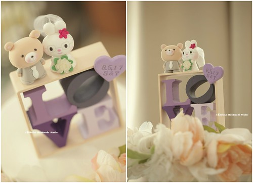 Rabbit And Bear With Handmade LOVE Sign Box Wedding Cake Topper Cute Animals