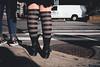 Street socks. NYC. (Stubwoi) Tags: newyork usa america city urban street people crossing socks juxstaposition fujifilm fujix100f nyc stripes