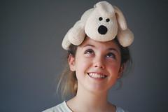 The stuffed dog (Alessio Vincenzo Liquori) Tags: portrait daughter stuffed dog pentaxk1 pentax tamron macro 90mm 28 playing smile smiling sorriso ritratto