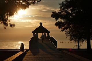 Lake pavilion in golden light