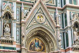 More facade detail, Duomo, FLorence, Italy