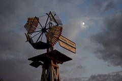 Moon / Windmill (Bo Dudas) Tags: sky clouds windmill outdoors outside evening autumn fall moon sunset sad melancholia melancholic saudade moonrays blue nikon omaha nebraska america broken