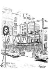2017-01 Gill St (gnyp) Tags: new plymouth zealand taranaki gill street gnyp sketch urban drawing