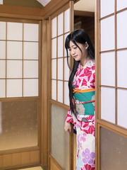 Young woman in kimono entering Japanese tatami room (Apricot Cafe) Tags: img25813 asia asianandindianethnicities higashichayamachi ishikawaprefecture japan japaneseethnicity japaneseculture kanazawa kimono sigma35mmf14dghsmart architecture artscultureandentertainment beautitulwoman charming cheerful citylife cultures day enjoyment entering fashion freedom freshness hairaccessory happiness house indoors lifestyles longhair oldfashioned oneperson onlywomen photography relaxation shoji sideview smiling springtime straighthair tatamimat threequarterlength tourism tradition traditionalclothing tranquility travel traveldestinations washitsu weekendactivities women youngadult kanazawashi ishikawaken jp