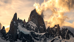 Fitz Roy (Zach G. Photography) Tags: patagonia nature landscapes mountains wilderness sunset orange argentina clouds earth blue snow climbing