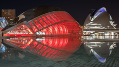 Red Alert (McQuaide Photography) Tags: valencia spain europe sony a7rii ilce7rm2 alpha mirrorless 1635mm sonyzeiss zeiss variotessar fullframe mcquaidephotography lightroom adobe photoshop tripod manfrotto light water reflection city urban waterside lowlight architecture outdoor outside waterfront building longexposure night nightphotography cityofartsandsciences ciutatdelesartsilesciències ciudaddelasartesylasciencias modern modernarchitecture architecturalcomplex 12treasuresofspain santiagocalatrava félixcandela attraction tourism travel touristdestination famousplace icon iconic widescreen futuristic future entertainment lhemisfèric imax cinema planeterium elpalaudelesartsreinasofia operahouse colour colours nopeople floating float red 169