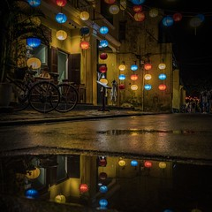 ... street lights reflections ... (Klaus Mokosch) Tags: vietnam hoian lampions water reflection spiegelung nacht night architektur architecture klausmokosch asia asien