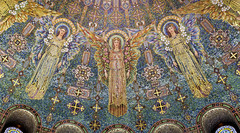 Mosiac tiles representing angels on the dome of the historic 1909 Lakewood Chapel in Minneapolis, Minnesota.  The mosaics were designed by Charles Lamb Studios of New York. (thstrand) Tags: 19001909 1908 1909 adult adults agegroups american angel angels architecturalstyle architecture arts artwork building buildings builtstructure byzantinerevival chapels charleslamb christiansymbols church colorful creatures crowncrowns decorativeart detail details divine dome domes early20thcentury female harrywildjones historicsite history holy humanfigures inside interior interiors lakewoodcemetery mn marble memorialchapel minneapolis minnesota mosaicart mural murals mythologicalcreature mythology nationalregisterofhistoricplaces nobody opulence orante religion religious sanctuary stainglasswindow structures tessellae tile tiles us usa unitedstatesofamerica visualarts windows wingedcreature wings woman women
