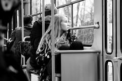 wondering on the bus [explored 29 dec 2017] (zzra) Tags: bw blackandwhite street people contrast