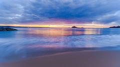 Dawn Seascape with Silhouettes (Merrillie) Tags: daybreak landscape nature dawn mountains water newsouthwales sea nsw sun batemansbay beach ocean southcoast waterscape scenery coastal island sunrise seascape australia coast clouds snapperisland