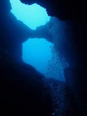 Arches of Aroca (YellowSingle 单黄) Tags: arches aroca tikia marine cave cavern scuba dive blue ocean atlantic exploration plongée olympus tg4 underwater