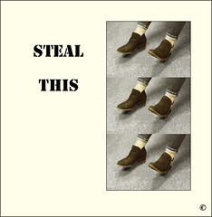 Two, four, six (Bob R.L. Evans) Tags: shoes letters humor unusual sixpairofshoes stenciltype