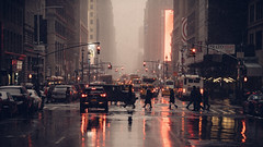 Outlets (Dj Poe) Tags: nyc ny newyork newyorkcity city manhattan midtown westside candid street streets wet snow snowing cinema cinematic people availablelight naturallight andrewmohrer djpoe color tones 2017 canon sony sonya7rii sonya7r2 sonyilce7rm2 mirrorless canonef70200mmf28lisusm 70200mm can taxi yellowcab bus redlight heraldsquare 7thavenue