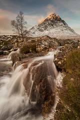 Buachaille Etive Mor and the River Coupall (Chris_Hoskins) Tags: wwwexpressionsofscotlandcom scottishlandscapephotography scotland winter herdsman glencoe scottishlandscape waterfall rivercoupall buachailleetivemor scottishwinter landscape