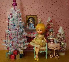 Contemplating Christmas over a cup of tea.... (Primrose Princess) Tags: vintage reto christmas kitch dollhousediorama diorama christmaswish vintagechristmastree posedoll marieantoinette pink green gold tea cupoftea teatime afternoontea