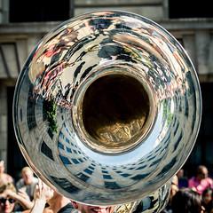 Brass Hole - Explored (Sean Batten) Tags: london england unitedkingdom gb gaypride nikon d800 58mm brass instrument musicalinstrument reflection city urban pride