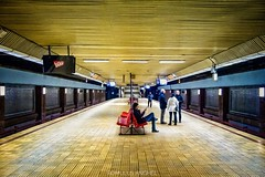 Late night in a subway station / Piața Muncii / Decembrie 2017. (Romulus Anghel) Tags: romania bucuresti travel subway underground people indoors night city colors lights wideangle urban metrou latenight
