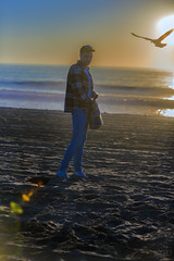 750_0072 (lgflickr1) Tags: ocean oceanfront gull seagull beach venicebeach california sunset flare water sand waterfront