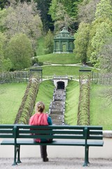 Contemplations 2018 (glasskunstler) Tags: landscapebeauty bench contemplation gazebo linderhof bavaria castle grounds park waterfall vines arbors